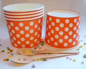 25 Orange Polka Dot Ice Cream Cups - Large 16 oz