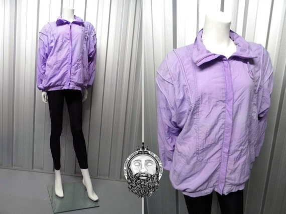 Vintage 80&39s Light Purple Windbreaker Jacket by ZeusVintage