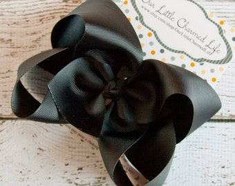 Black XL Hair Bow, Extra Large Hair Bow, Black Hairbow, Black Boutique Hair Bow, Black Bow, Black Hair Clip, Back To School Hair Bow