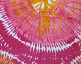 pink & orange tie dye beach towel with your choice of large monogram
