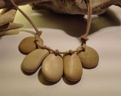 Beach Pebble Necklace, 5 Stones