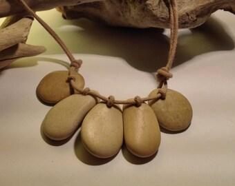 Beach Pebble Necklace, 5 Stones