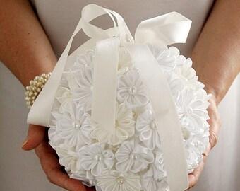 Ivory & White Satin Bridal Bouquet, Kanzashi Pomander, Kissing Ball, Bridal Bouquet, Flower Girl Pomander, Wedding Bouquet, Flower Pomander