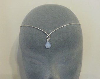 silver plated twisted medieval circlet with opalite moonstone elven tiara headband