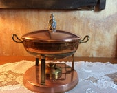 1930's Swedish Copper and Brass Christmas Chaffing Dish