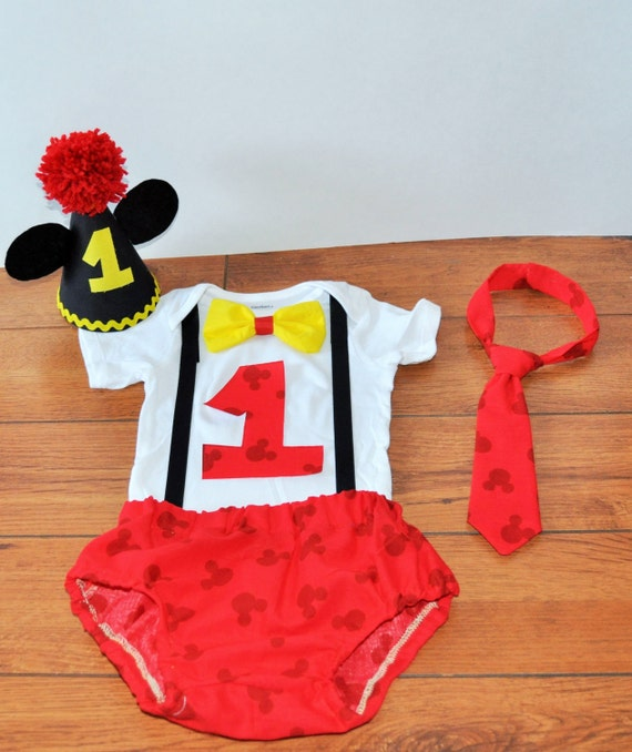 Mickey Mouse cake smash outfit with party hat Mickey by ...