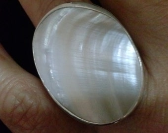 Large Oval Mother of Pearl Ring Handmade with a White Shell and Sterling Silver. Statement, Cocktail and fashion Jewelry for women