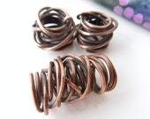 Handmade copper wire nest beads, set of 3 (1 large, 2 medium)  HC14-012 E