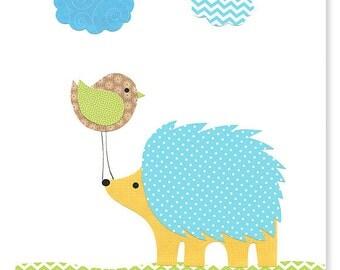 Hedgehog Nursery Art Print woodland nursery Blue Green Brown Bird 8 x 10 or 11 x 14 Print