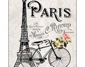 Paris Eiffel Tower and Bicycle 8x10 Art Print Romantic Style