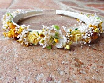 Headband with autumn shades flowers, flower girl headband