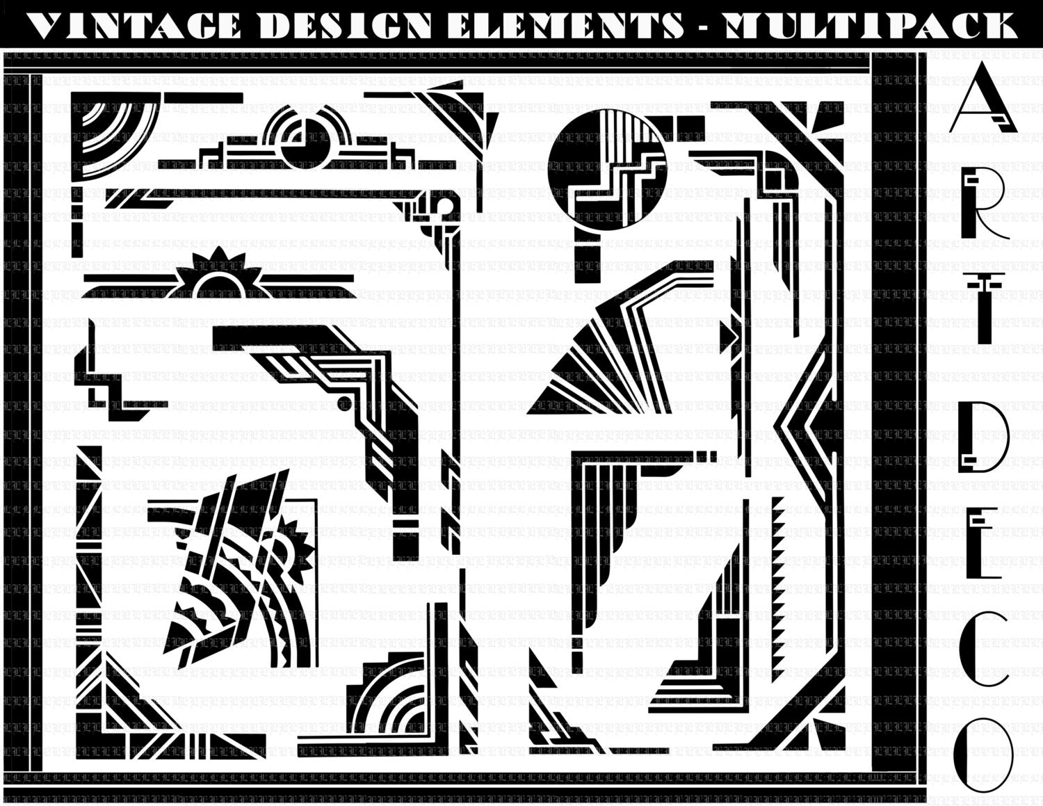 art deco borders art deco design elements art deco clip art 300dpi instant download 4005