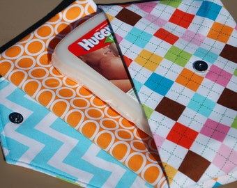 Argyle in Pink, Aqua, Green & More - Grab 'N Go Diaper Bag with Changing Mat