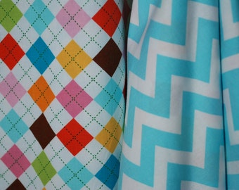 Argyle in Pink Aqua Green and More - Car Seat Canopy/Cover