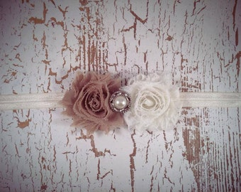 Tan & Ivory with Rhinestone Flower Headband, Country Wedding, Baby Headband, Shabby Chic Headband, Newborn Headband, Fall Headband