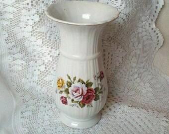 """Vintage 8"""" White Porcelain Rose Vase Gold Rim"""