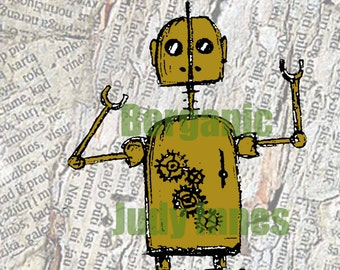 Rollerbot Steampunk Robot Sci fi. Digital Print from Pencil Drawing.