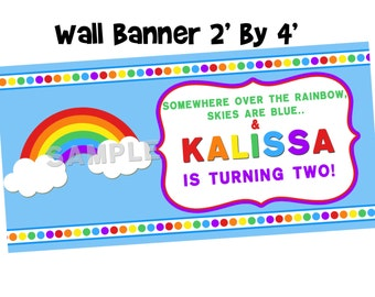 Rainbow Personalized Banner - Birthday Party Banner Indoor Or Outdoor Material