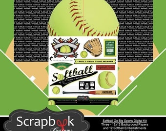 Softball Digital Scrapbooking. Instant Download.