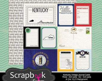 Kentucky Journal Cards. Digital Scrapbooking. Project Life. Instant Download.