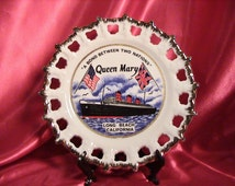 RMS Queen Mary Souvenir - Ship Queen Mary - Souvenir Plate - Circa 1967 (199)