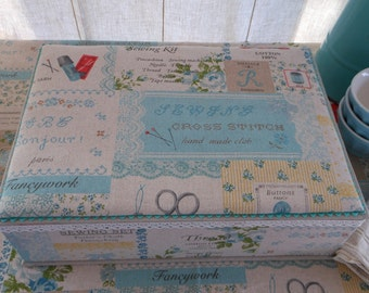 """DIY kit writing or sewing box A4 of 13"""" x 9.3"""" x 3.4"""", cartonnage fabric covered"""
