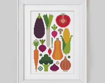 Kitchen Vegetables - Cross Stitch Pattern (Digital Format - PDF)