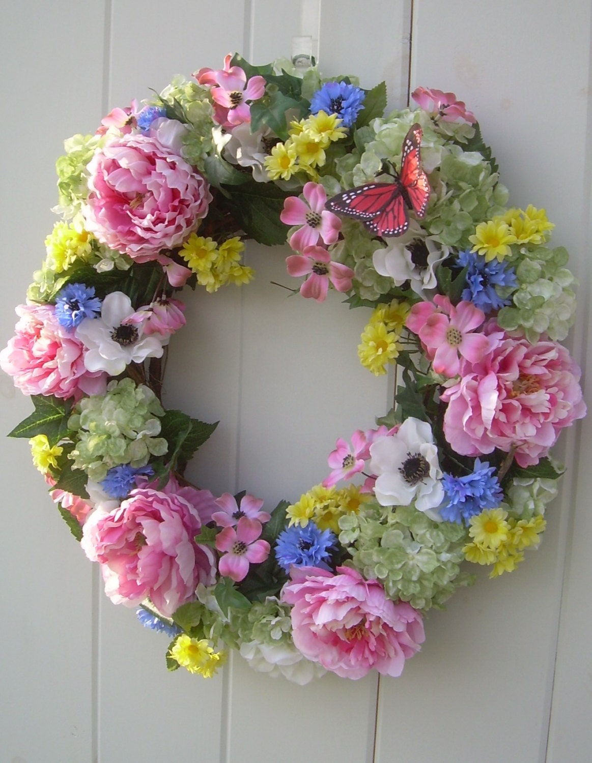 large spring wreath summer grapevine wreath artificial