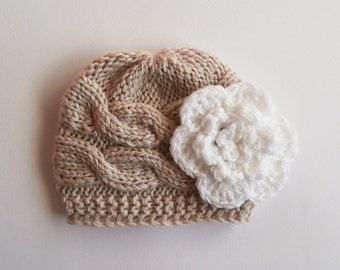 Newborn Baby Girl Hat , Baby Hat Photo Prop , Knit Baby Hat , Crochet Flower Hat ,Photo Prop