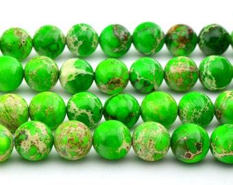 "16""  Light  Green Sea Sediment  Round Beads 10MM  Imperial  Gemstone Loose"
