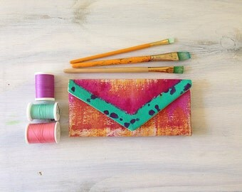 Women's Wallets - Cash Envelope Wallet - Unique Gift For Wife - Painted Wallet - Envelope Wallet - Womens Wallet - Gift Ideas For Wife