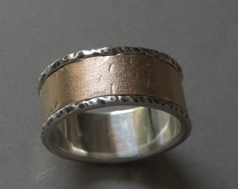Silver and Bronze Wedding ring, Wide rustic ring from silver and bronze.  Wedding ring - Made to order