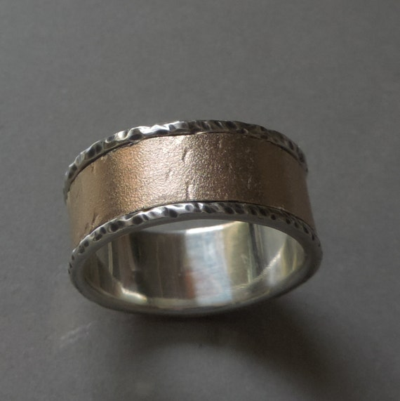 Silver And Bronze Wedding Ring Wide Rustic Ring From Silver