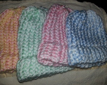 Baby Caps in 2 Shades of Baby Soft Yarn