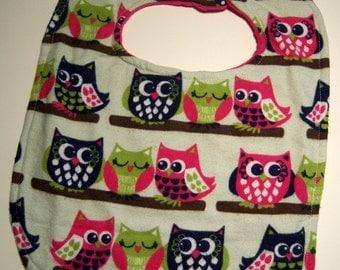Baby Owl Bib - Reversible Super Absorbent Triple Layer - READY TO SHIP - Minky Baby Bib - Owl Bib - Minky Bibs - Baby Bibs