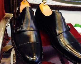 Handmade Special Design Luxury Black Monk Strap Men Shoes