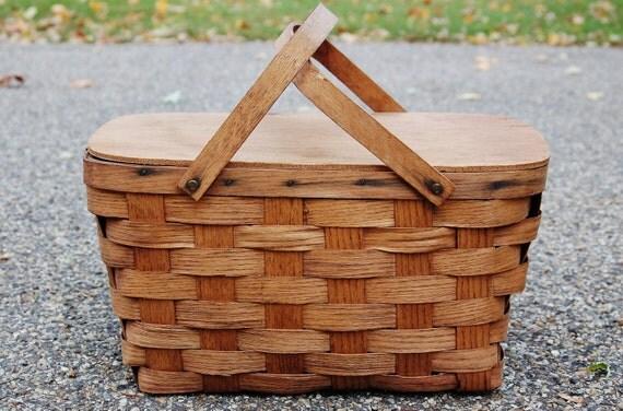 Wooden Picnic Basket Set : Wood picnic basket vintage by
