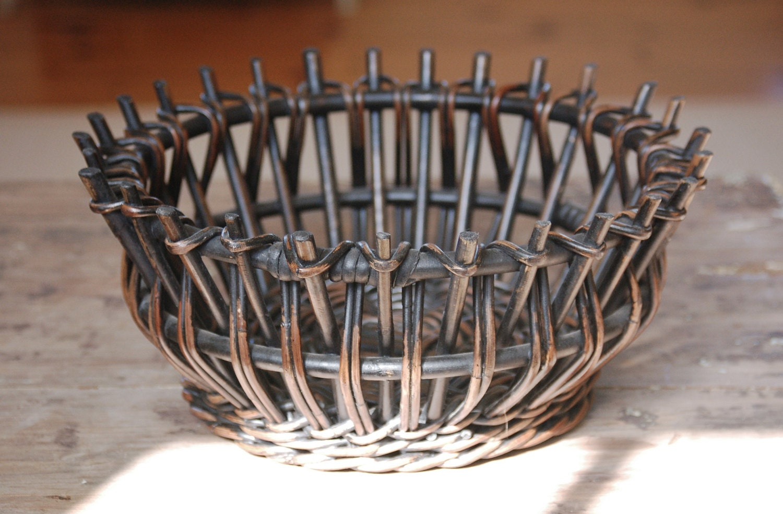 Woven Basket Art : Black woven wicker basket art deco primitive rustic modern