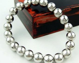 AAA Grade Genuine Gibeon Meteorites Bracelets 8MM, Natural Round Meteorite Beads 8MM, Genuine Meteorite Jewelry