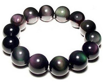 Genuine Rainbow Obsidian Bracelet 12MM, AAA Grade, Natural Black Obsidian Round Beaded Bracelets, Necklace Jewelry Men