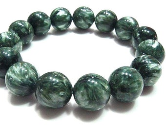 Genuine Seraphinite Bracelet 10MM, AAA Grade, Natural Russian Seraphinite Gemstone Beads, Seraphinite Round Beads, Jewelry, Healing Stones