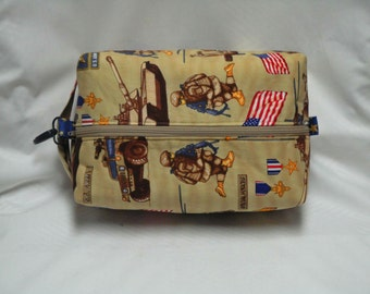 Army Military Boxy Knitting or Crochet Project Bag, Cosmetic Pouch, Ditty bag, Large boxy bag, Shaving Kit Toiletry Bag, Diaper bag pouch
