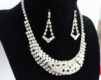 Elegant Rhinestone Necklace and Earrings Set Fancy Elegant Black Tie Prom Formal