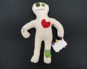 Voodoo Doll 8' with 6 colorful skull pins Hand Sewn Each 1 is Different Cute Halloween Gage Gift 10% goes to St. Jude Children's Hospital