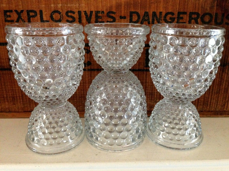 Vintage Depression Glass Double Egg Cups Set Of 3 Hobnail