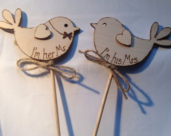 Wedding Cake Topper - Bird Cake Topper - I'm her Mr - I'm his Mrs