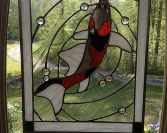 Stained Glass Swimming Koi Panel
