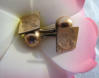 Hand Chased Victorian Cuff Links with 9 - 10K Rose Gold