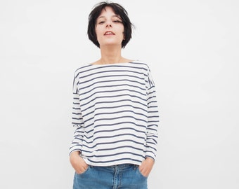 Striped shirt, Long Sleeve Tshirt, Oversized with Blue Breton stripes