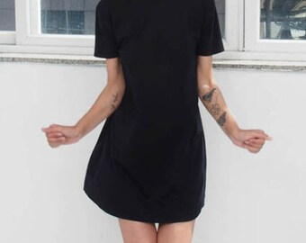 Black T shirt dress // Casual black mini dress // Day dress In Mod style